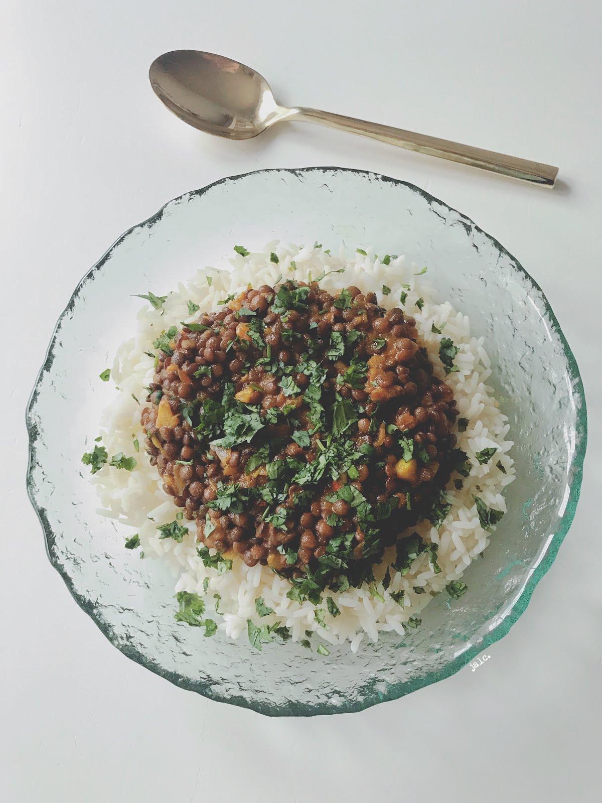 receta lentejas con arroz al curry