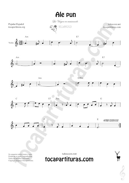 Violín Partitura de Ale Pun  Sheet Music for Violin Music Scores