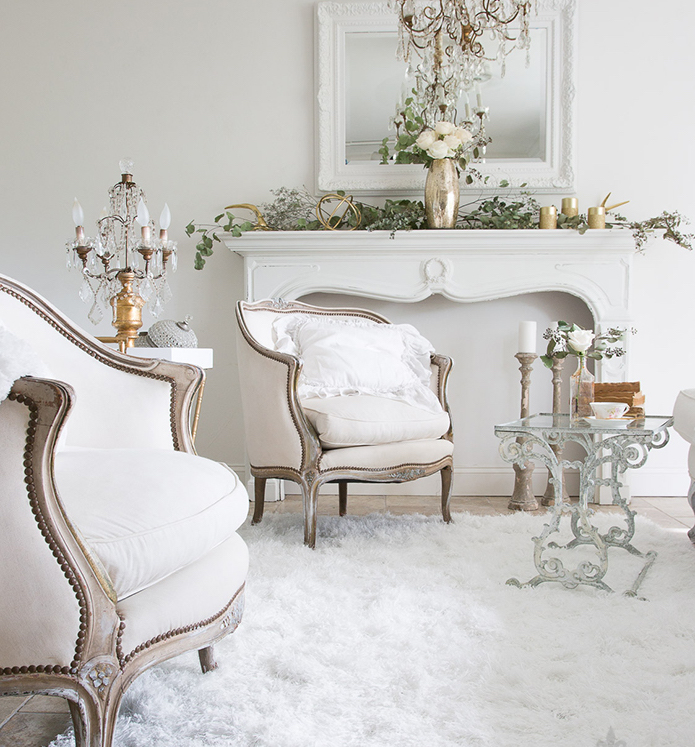 french country white living room