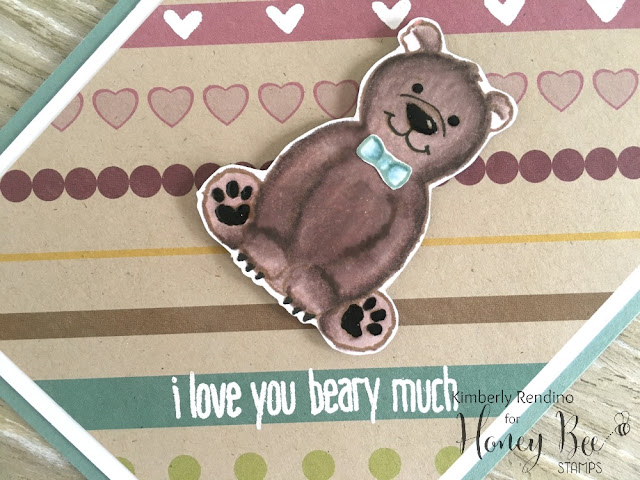 honey bee stamps | teddy bear | handmade card | Copic coloring | kimpletekreativity.blogspot.com