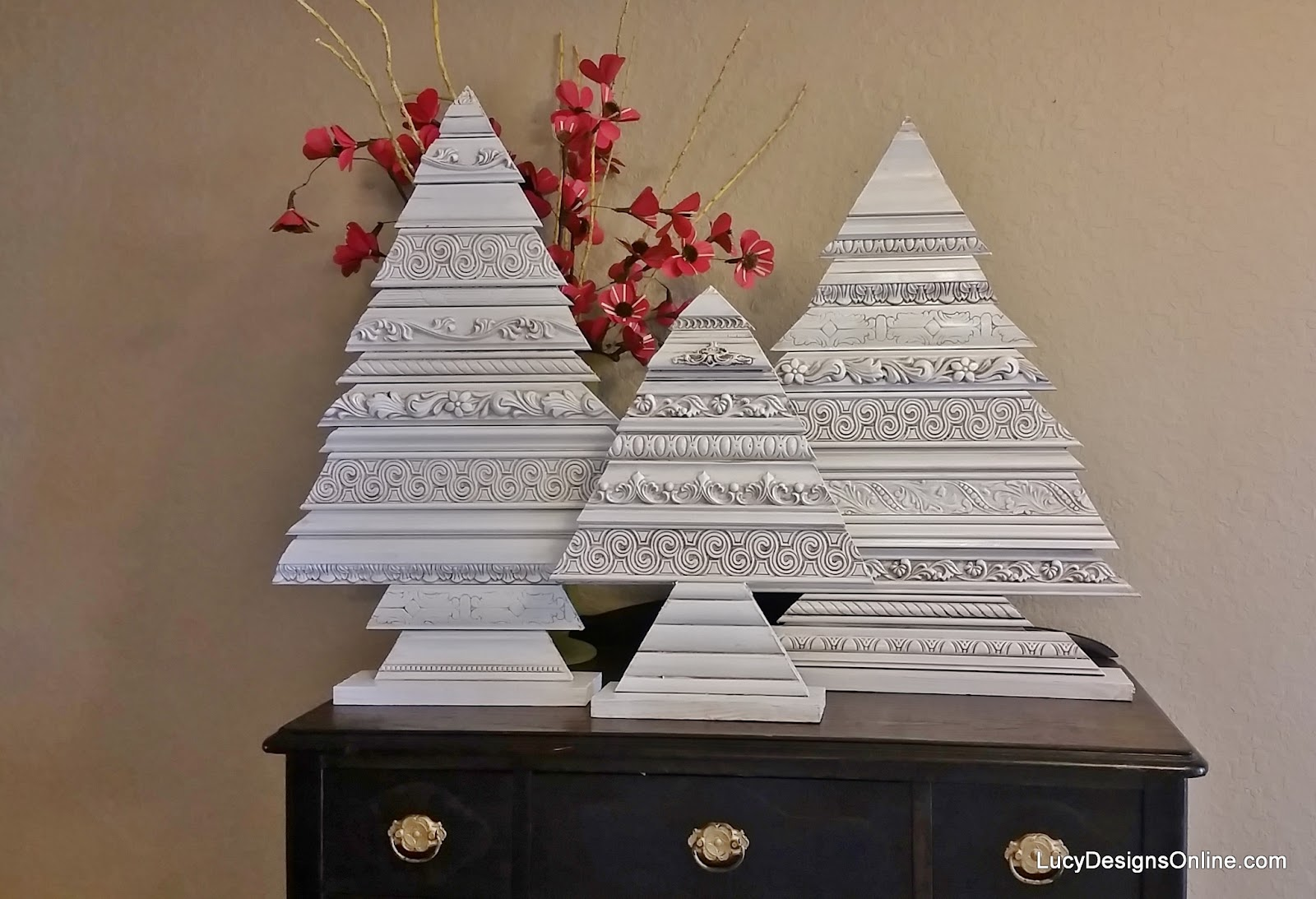 wood Christmas tree made with decorative molding