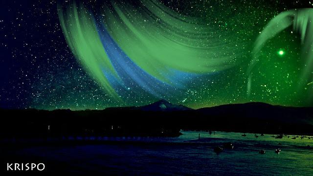 aurora boreal verde sobre larun