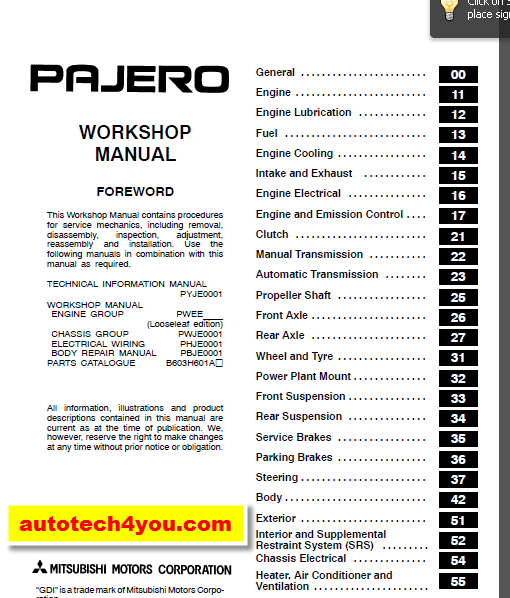 Mitsubishi Pajero, Montero 20012003 service manual