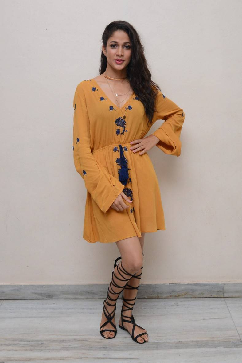 Lavanya Tripathi Legs Show Photos In Short Yellow Dress