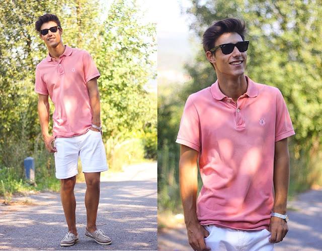 Look mascuilino com camisa rosa