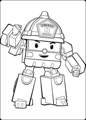 gambar robot robocar poli untuk mewarnai