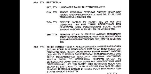 Beredar Salinan Telegram terkait Status Siaga 1 Mabes Polri
