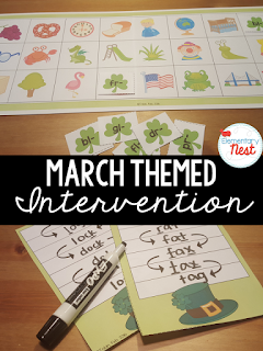 Intervention Activities for Early Literacy with fun March and Saint Patrick's Day themed games