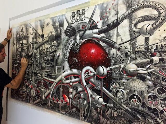 Mural futurista en papel