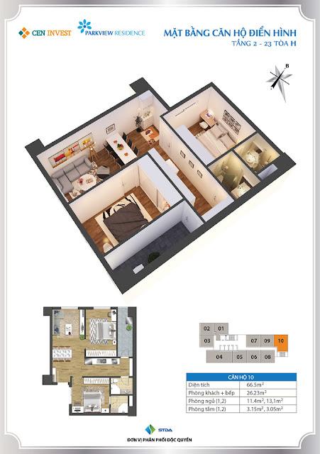 Thiết kế căn hộ 10 chung cư Park View Residence