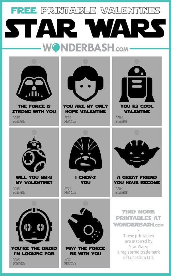 20 Free Printable Star Wars Valentines Frugal Family Times