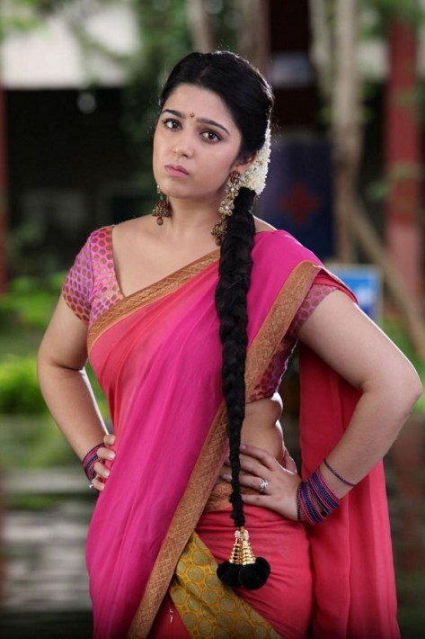 Telugu Actress Charmy Photos in Pink Langa Voni
