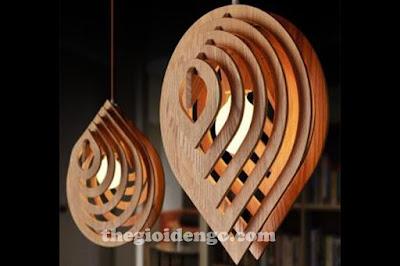 Thế Giới Đèn Gỗ - Đèn gỗ trang trí giọt nước 1