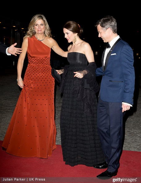 Queen Maxima of the Netherlands with Crown Princess Mary, and Crown Prince Frederik of Denmark at The Black Diamond in Copenhagen