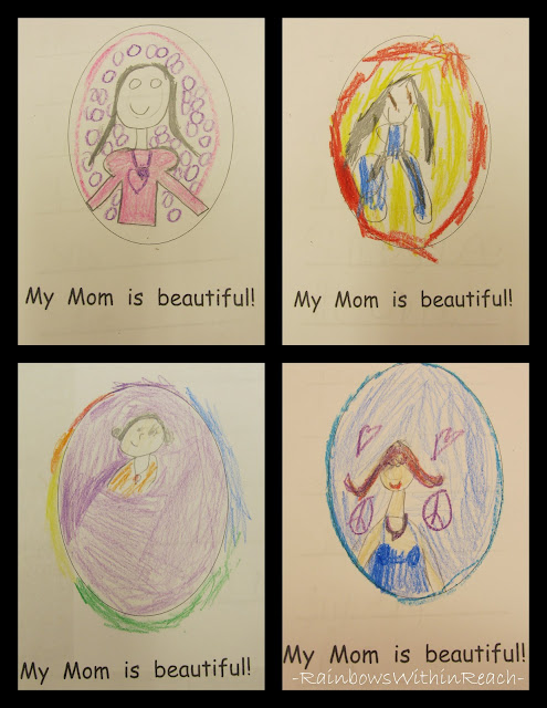 photo of: Mother's Day drawings in kindergarten, Mother's Day project