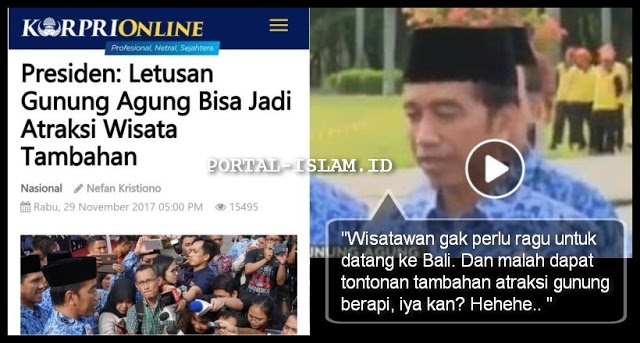 "Astaghfirullah... Musibah Gunung Agung, Presiden Jokowi Malah Bilang Sebagai ""Tontonan Tambahan"""