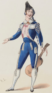 A typical costume for the main character, the barber Figaro