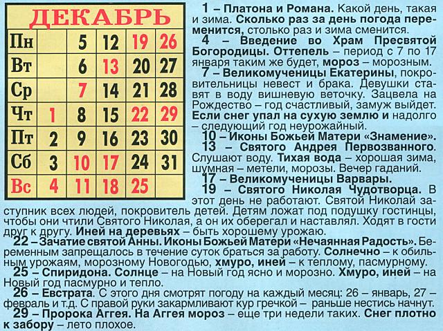 25 декабря православный календарь крупных городов, первую