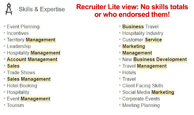 Skills list on Recruiter Lite