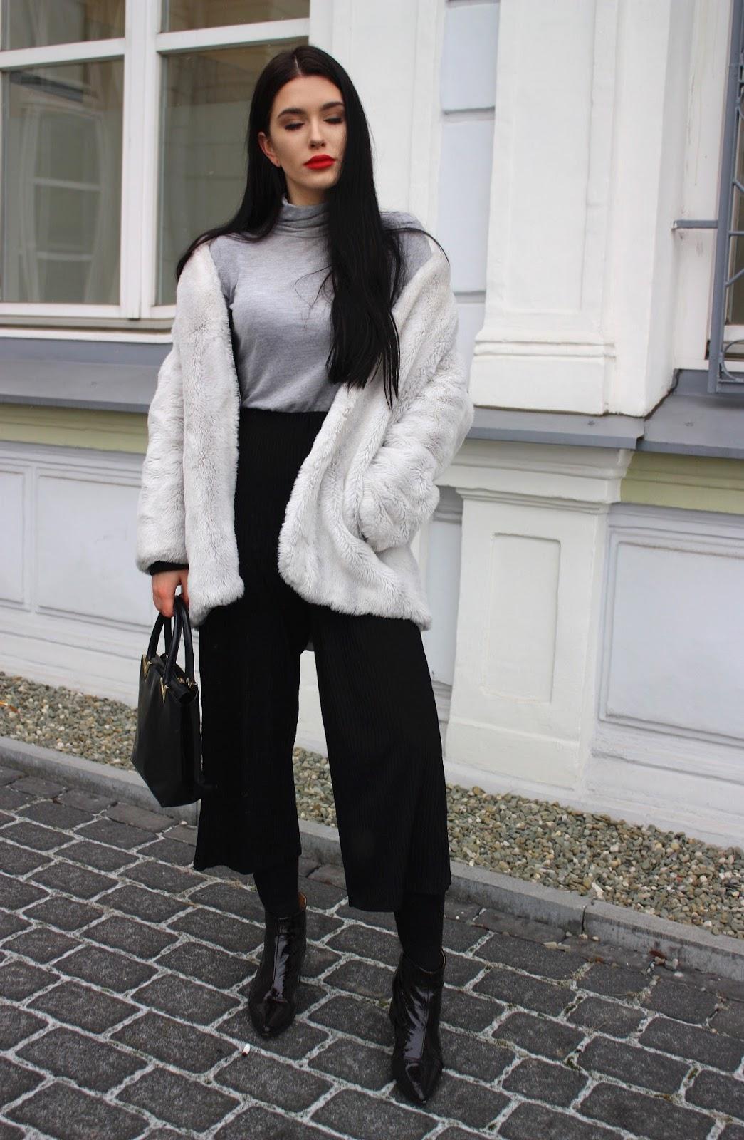 zimowe stylizacje, white faux fur, faux fur, futerko, płaszcz na futrze, zimowe stylizacje