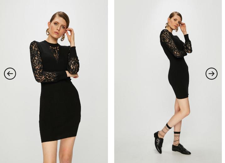 Morgan - Rochie neagra scurta eleganta de ocazii cu maneci din dantela