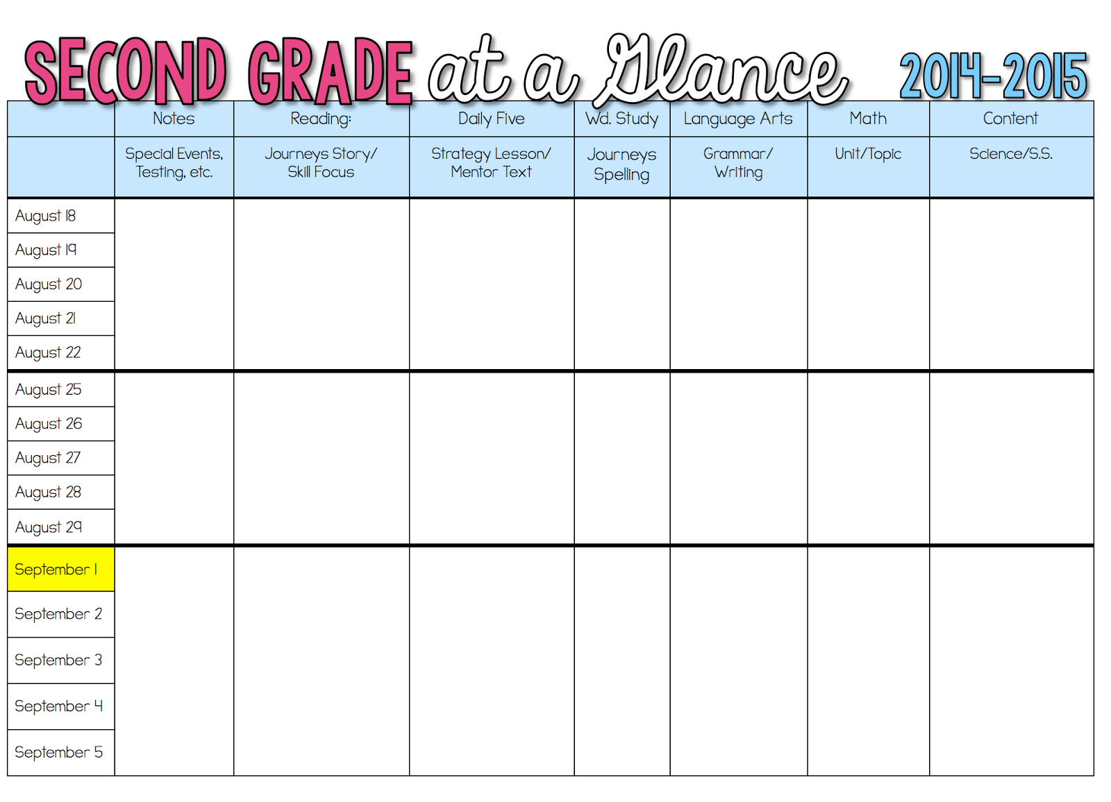 Sharing my long range plans sunny days in second grade for Week long lesson plan template