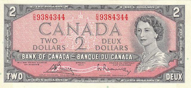 Canadian Banknotes 2 Dollars banknote 1954 Queen Elizabeth II