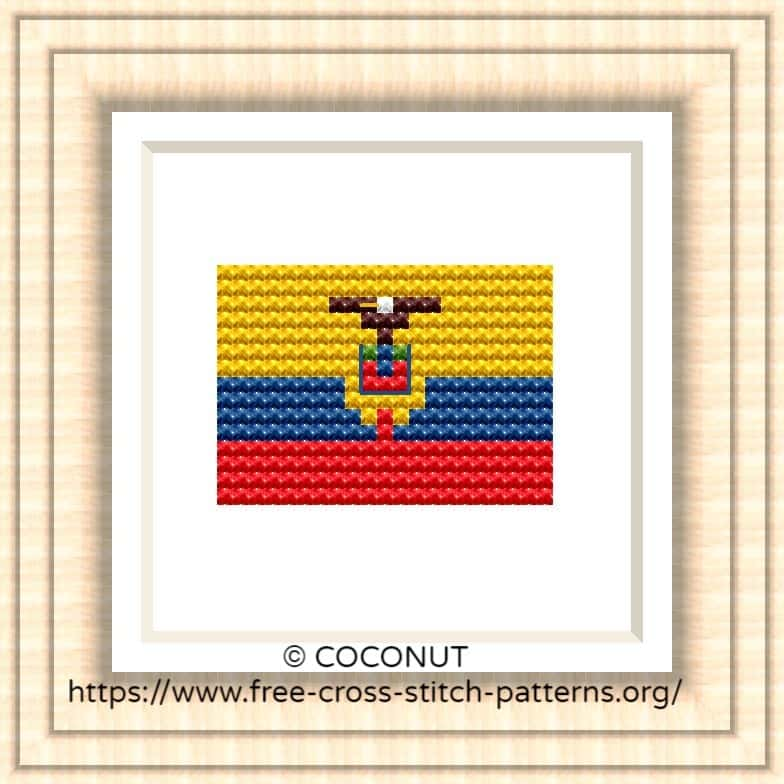 NATIONAL FLAG OF ECUADOR CROSS STITCH CHART
