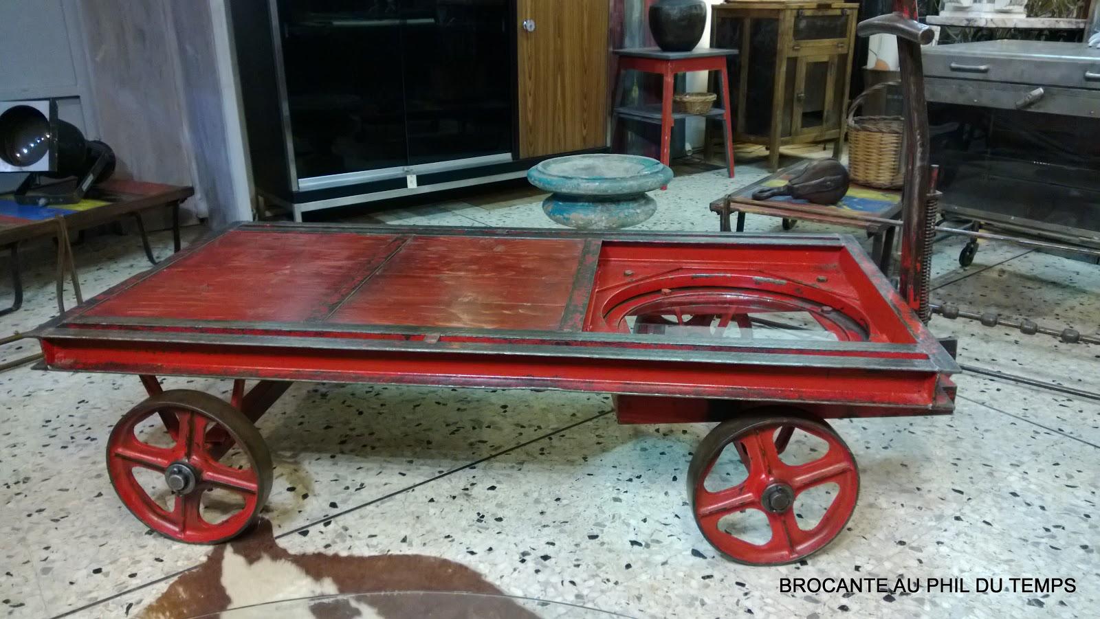 l 39 atelier de philippe table basse industrielle chariot d 39 usine. Black Bedroom Furniture Sets. Home Design Ideas