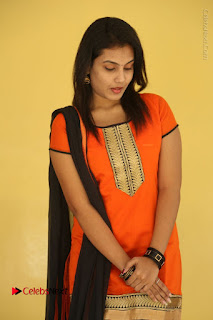 Telugu Actress Chandana Stills in Salwar Kameez at Karam Dosa Movie Press Meet  0034.JPG