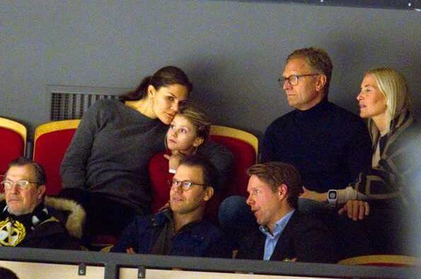 Crown Princess Victoria, Prince Daniel and Princess Estelle watched ice hockey match played between Brynäs and Oskarshamn