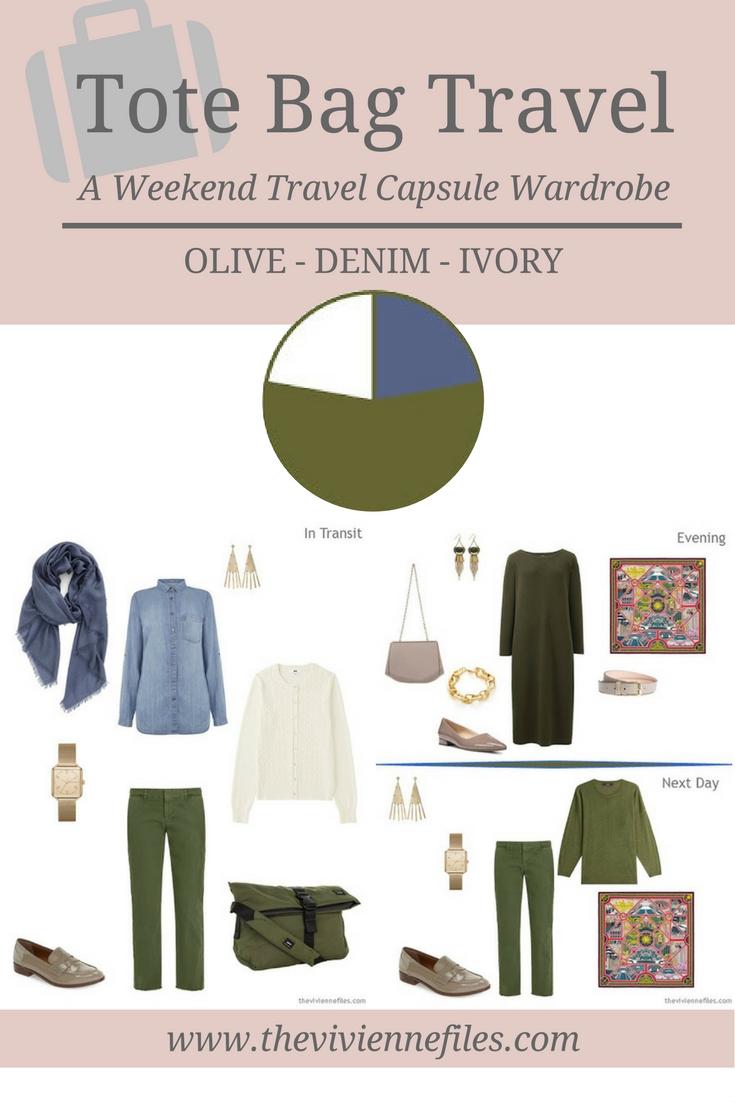 Tote Bag Travel Capsule Wardrobe In Olive, Denim And Ivory