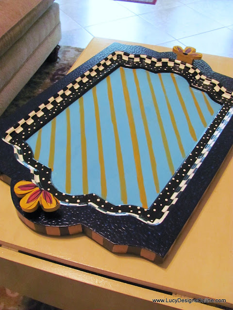whimsical colorful painted serving tray
