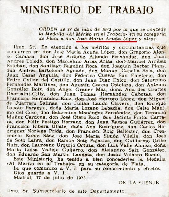 Publicación en el BOE de la Orden del Ministerio de Trabajo que concede la Medalla de Plata a José María Acuña