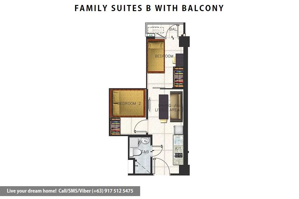 Floor Plan of SMDC Spring Residences - Family Suite B With Balcony | Condominium for Sale Bicutan Paranaque