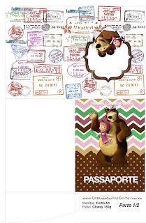 Imprimible con forma de Pasaporte de Masha y el Oso.