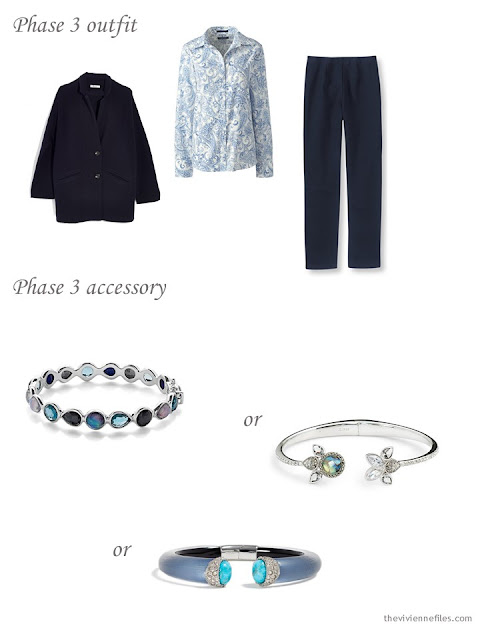 adding a bracelet to a 4 by 4 Wardrobe in Navy with floral accents