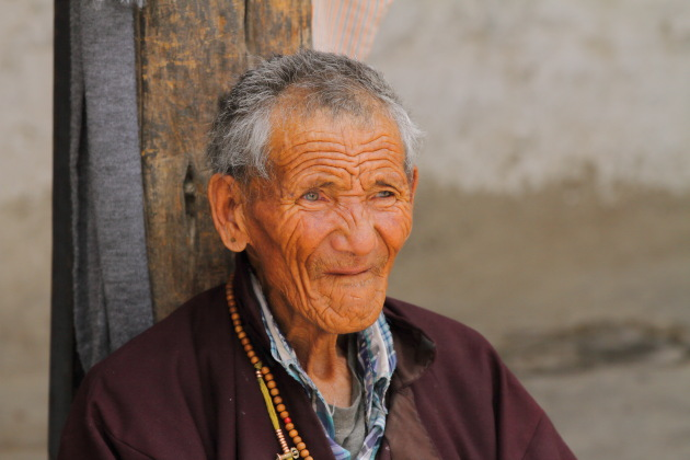 Portrait of an elderly Ladakhi man at Shey Palace