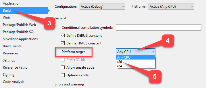 Change Platform Target From AnyCPU to x86