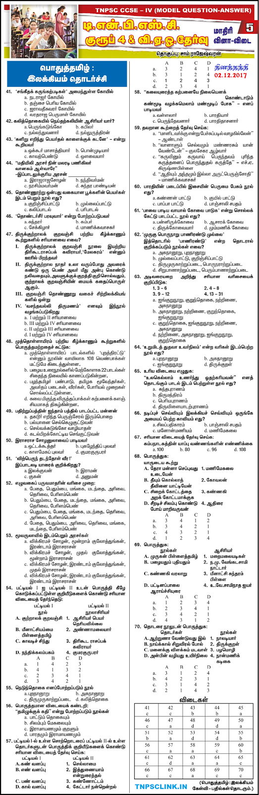 TNPSC Group 4 Model Papers General Tamil 2017,Download as PDF