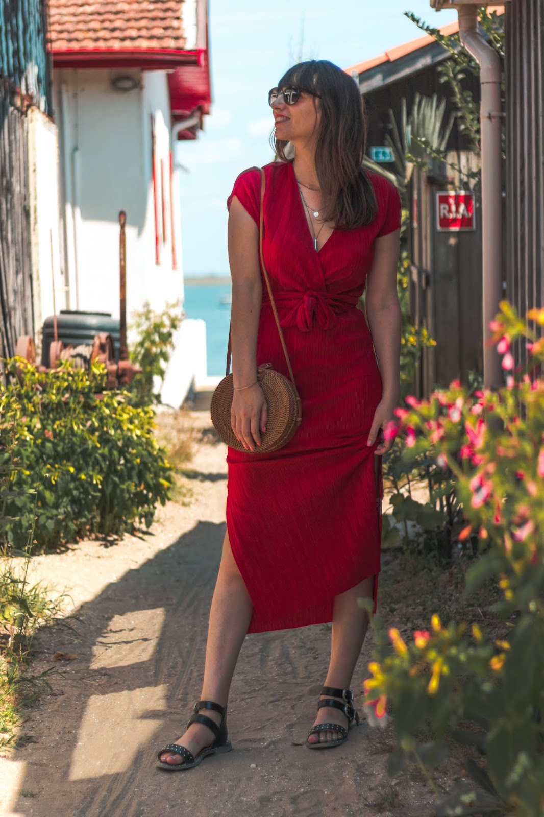 robe longue rouge Bershka