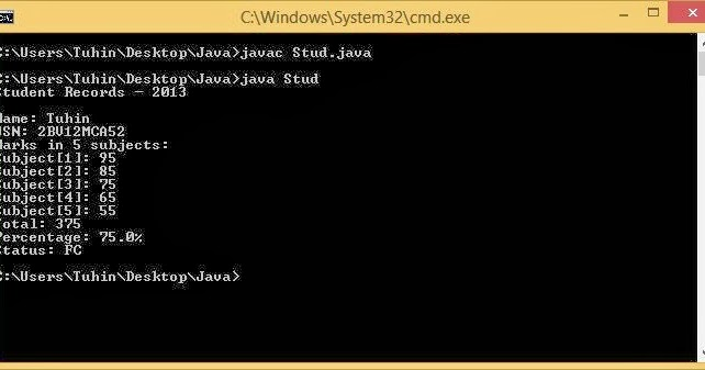 FurryByte: 4  Write a java program to read 5 subjects marks