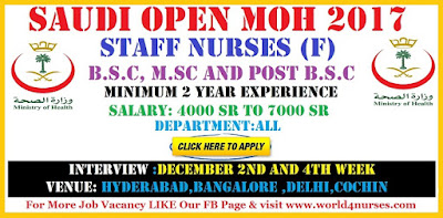 Saudi Open MOH For BSc, MSc and Post BSc Female Nurses - Apply Now