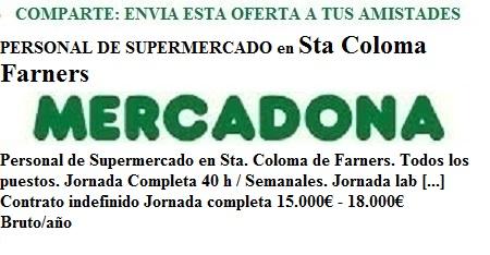 Santa Coloma de Farners, Girona. Lanzadera de Empleo Virtual. Oferta Mercadona