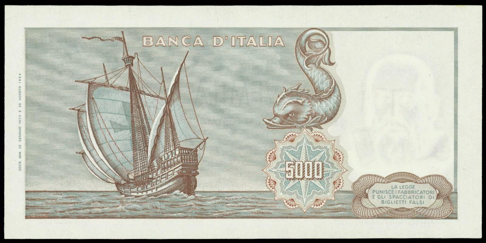 5000 Italian Lira note