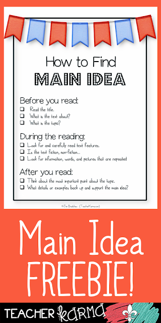 FREE Main Idea Resource TeacherKarma.com