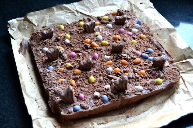 chocolate fridge traybake with cadbury's dairy milk and some Easter treats