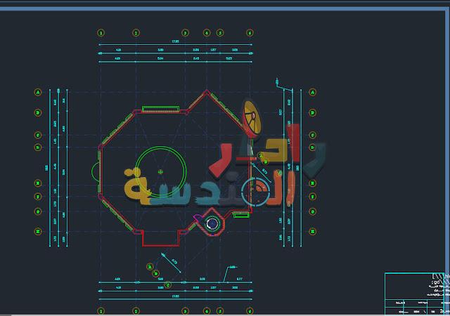 مشروع مسجد سباعي الأضلاع Dwg