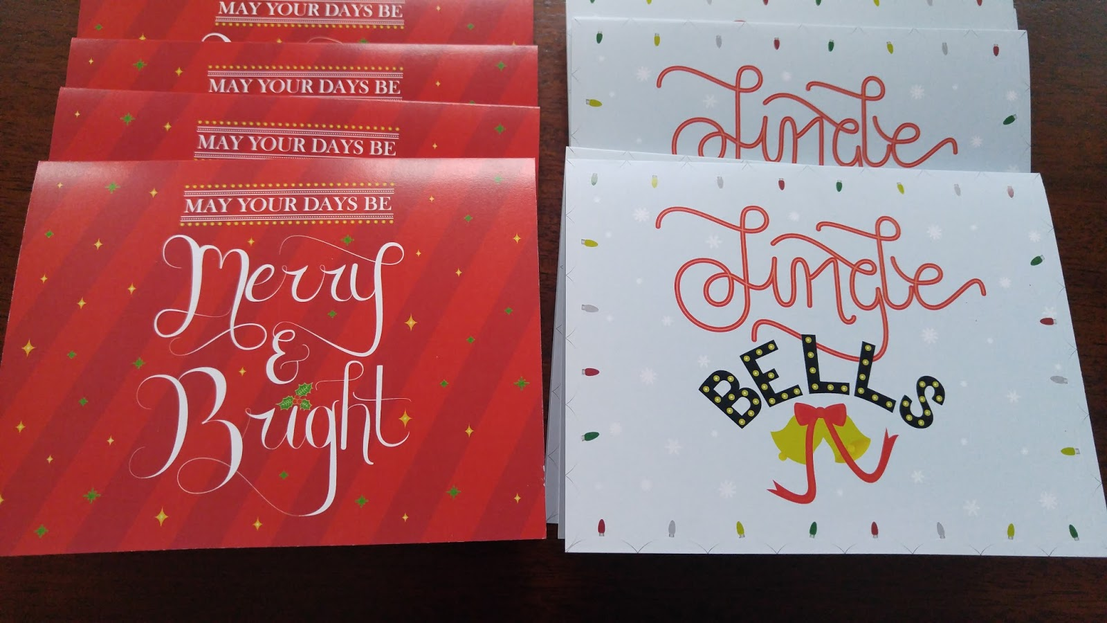 Merry and Bright, Jingle Bells Christmas cards