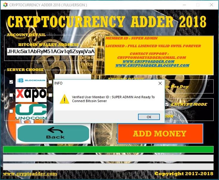BITCOIN ADDER 2019 ~ Cryptocurrency Money Adder 2019